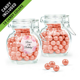 Personalized Birthday Favor Assembled Swing Top Jar Filled with Sixlets