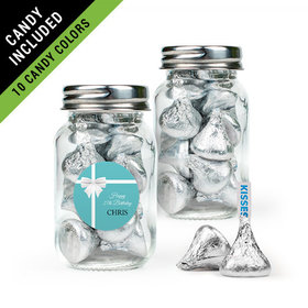 Personalized Birthday Favor Assembled Mini Mason Jar Filled with Hershey's Kisses