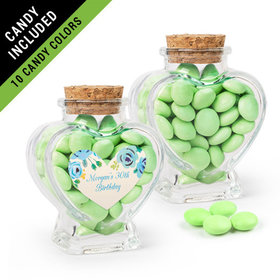 Personalized Birthday Favor Assembled Heart Jar Filled with Just Candy Milk Chocolate Minis