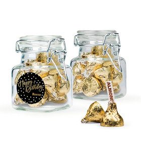 Personalized Birthday Favor Assembled Swing Top Square Jar Filled with Hershey's Kisses