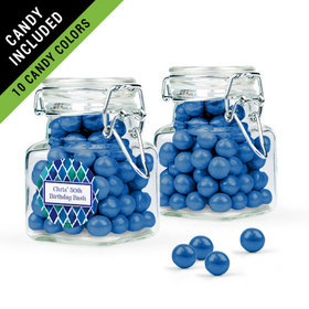 Personalized Birthday Favor Assembled Swing Top Square Jar Filled with Sixlets