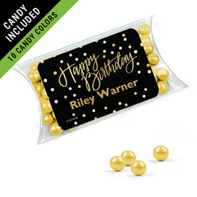 Personalized Birthday Favor Assembled Pillow Box Filled with Sixlets