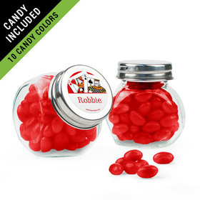 Personalized Birthday Favor Assembled Mini Side Jar Filled with Just Candy Jelly Beans