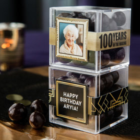Personalized Milestone 100th Birthday JUST CANDY® favor cube with Premium Barrel Aged Bourbon Cordials - Dark Chocolate