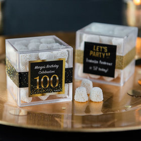 Personalized Milestone 100th Birthday JUST CANDY® favor cube with Jelly Belly Gumdrops