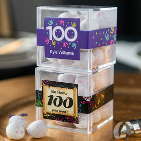 Personalized Milestone 100th Birthday JUST CANDY® favor cube with Premium Confetti Cookie Bites