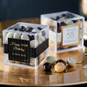 Personalized Milestone 100th Birthday JUST CANDY® favor cube with Premium New York Espresso Beans