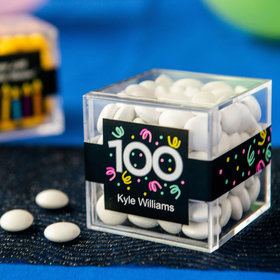 Personalized Milestone 100th Birthday JUST CANDY® favor cube with Just Candy Milk Chocolate Minis