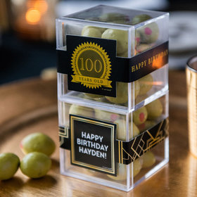 Personalized Milestone 100th Birthday JUST CANDY® favor cube with Premium Martini Olive Almonds - White Chocolate