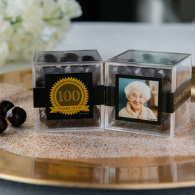 Personalized Milestone 100th Birthday JUST CANDY® favor cube with Premium Rum Cordials - Dark Chocolate