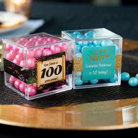Personalized Milestone 100th Birthday JUST CANDY® favor cube with Sixlets Chocolate