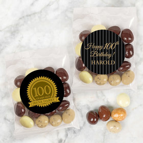 Personalized Milestone 100th Birthday Candy Bags with Premium Gourmet New York Espresso Beans