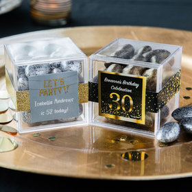 Personalized Milestone 30th Birthday JUST CANDY® favor cube with Premium Almond Jewels
