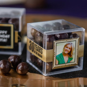 Personalized Milestone 30th Birthday JUST CANDY® favor cube with Premium Barrel Aged Bourbon Cordials - Dark Chocolate