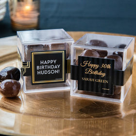 Personalized Milestone 30th Birthday JUST CANDY® favor cube with Premium Milk & Dark Chocolate Sea Salt Caramels