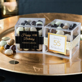 Personalized Milestone 30th Birthday JUST CANDY® favor cube with Premium New York Espresso Beans