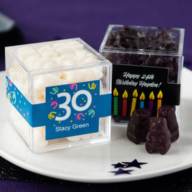 Personalized Milestone 30th Birthday JUST CANDY® favor cube with Gummy Bears