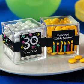 Personalized Milestone 30th Birthday JUST CANDY® favor cube with Just Candy Milk Chocolate Minis