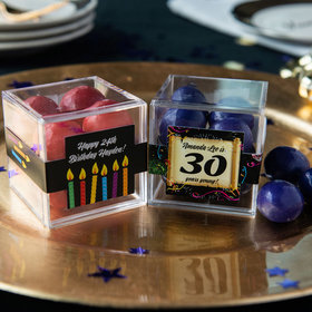 Personalized Milestone 30th Birthday JUST CANDY® favor cube with Premium Malted Milk Balls