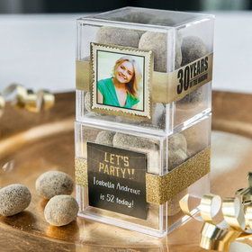 Personalized Milestone 30th Birthday JUST CANDY® favor cube with Premium Marshmallow S'mores - Milk Chocolate