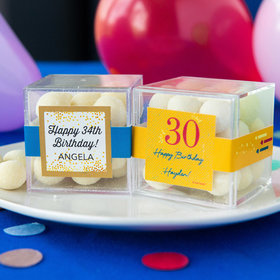 Personalized Milestone 30th Birthday JUST CANDY® favor cube with Premium Sugar Cookie Bites