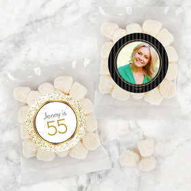 Personalized Milestone 30th Birthday Candy Bags with Jelly Belly Champagne Bubble Gumdrops