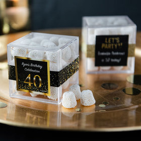 Personalized Milestone 40th Birthday JUST CANDY® favor cube with Jelly Belly Gumdrops