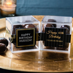 Personalized Milestone 40th Birthday JUST CANDY® favor cube with Premium Milk & Dark Chocolate Sea Salt Caramels