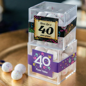 Personalized Milestone 40th Birthday JUST CANDY® favor cube with Premium Confetti Cookie Bites