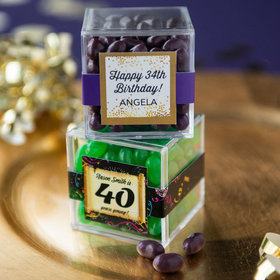 Personalized Milestone 40th Birthday JUST CANDY® favor cube with Jelly Belly Jelly Beans