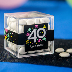 Personalized Milestone 40th Birthday JUST CANDY® favor cube with Just Candy Milk Chocolate Minis