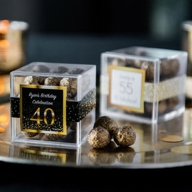 Personalized Milestone 40th Birthday JUST CANDY® favor cube with Premium Sparkling Prosecco Cordials - Dark Chocolate