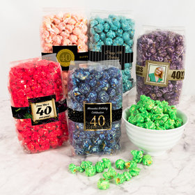 Personalized Milestone 40th Birthday Candy Coated Popcorn 8 oz Bags