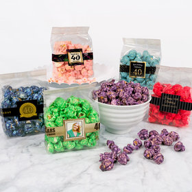 Personalized Milestone 40th Birthday Candy Coated Popcorn 3.5 oz Bags