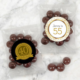 Personalized Milestone 40th Birthday Candy Bags with Premium Gourmet Barrel-Aged Bourbon Cordials