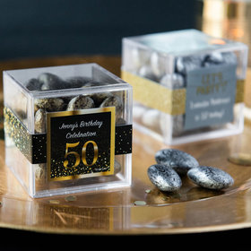 Personalized Milestone 50th Birthday JUST CANDY® favor cube with Premium Almond Jewels