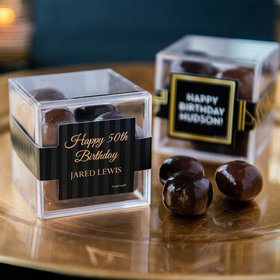 Personalized Milestone 50th Birthday JUST CANDY® favor cube with Premium Milk & Dark Chocolate Sea Salt Caramels