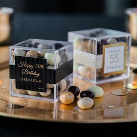 Personalized Milestone 50th Birthday JUST CANDY® favor cube with Premium New York Espresso Beans