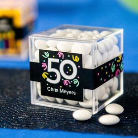 Personalized Milestone 50th Birthday JUST CANDY® favor cube with Just Candy Milk Chocolate Minis