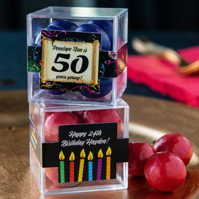 Personalized Milestone 50th Birthday JUST CANDY® favor cube with Premium Malted Milk Balls