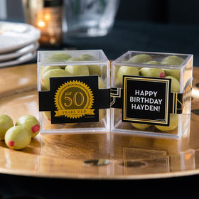 Personalized Milestone 50th Birthday JUST CANDY® favor cube with Premium Martini Olive Almonds - White Chocolate