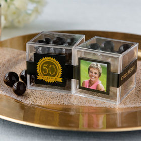 Personalized Milestone 50th Birthday JUST CANDY® favor cube with Premium Rum Cordials - Dark Chocolate