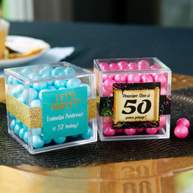 Personalized Milestone 50th Birthday JUST CANDY® favor cube with Sixlets Chocolate