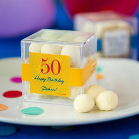 Personalized Milestone 50th Birthday JUST CANDY® favor cube with Premium Sugar Cookie Bites