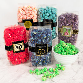 Personalized Milestone 50th Birthday Candy Coated Popcorn 8 oz Bags