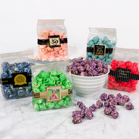 Personalized Milestone 50th Birthday Candy Coated Popcorn 3.5 oz Bags