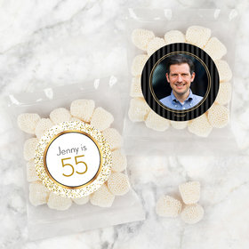 Personalized Milestone 50th Birthday Candy Bags with Jelly Belly Champagne Bubble Gumdrops