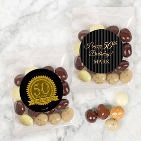 Personalized Milestone 50th Birthday Candy Bags with Premium Gourmet New York Espresso Beans