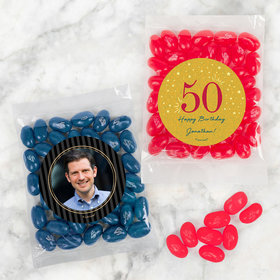 Personalized Milestone 50th Birthday Candy Bags with Jelly Belly Jelly Beans
