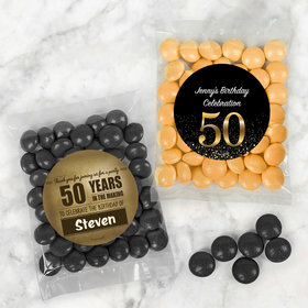 Personalized Milestone 50th Birthday Candy Bags with Just Candy Milk Chocolate Minis